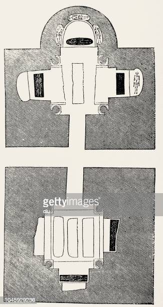 catacombs in rome: plan of double chamber - trastevere stock illustrations