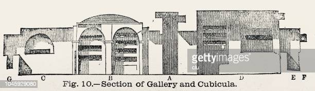 catacombs in rome: section of gallery and cubicula - trastevere stock illustrations