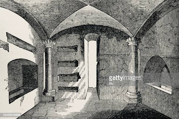 catacombs in rome: vaulted chamber with columns - trastevere stock illustrations