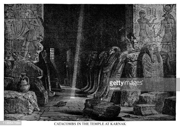 catacombs in the temple at karnak - thebes egypt stock illustrations