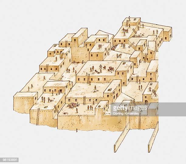catal huyuk, ancient settlement in anatolia, turkey, from c. 6500 bc - paleolitico stock illustrations