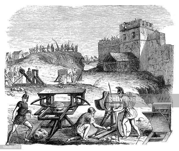 catapults of the ancient romans - roman stock illustrations, clip art, cartoons, & icons