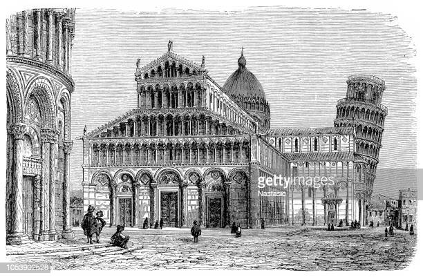 cathedral and leaning tower of pisa - pisa stock illustrations, clip art, cartoons, & icons