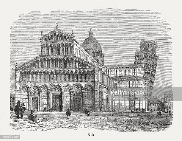 cathedral and leaning tower of pisa, published in 1881 - pisa stock illustrations, clip art, cartoons, & icons