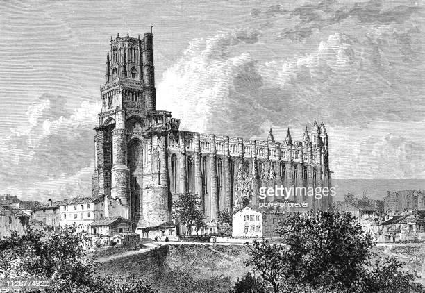 cathedral basilica of saint cecilia in albi, france - 19th century - circa 14th century stock illustrations