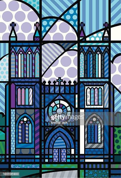 stockillustraties, clipart, cartoons en iconen met cathedral in blue - klooster