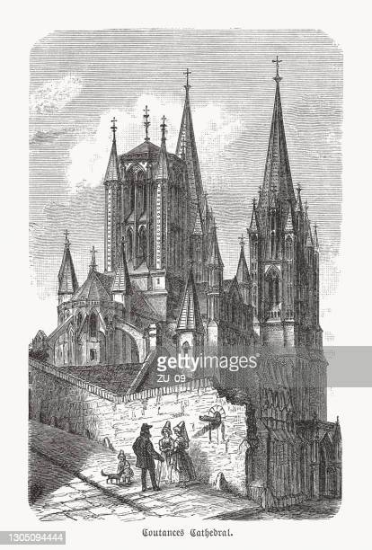 cathedral in coutances, normandy, france, wood engraving, published in 1893 - normandy stock illustrations