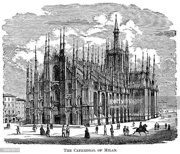 cathedral of milan - milan stock illustrations, clip art, cartoons, & icons