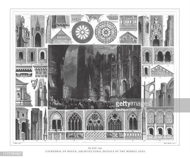 cathedral of rouen; architectural details of the middle ages engraving antique illustration, published 1851 - rouen stock illustrations, clip art, cartoons, & icons