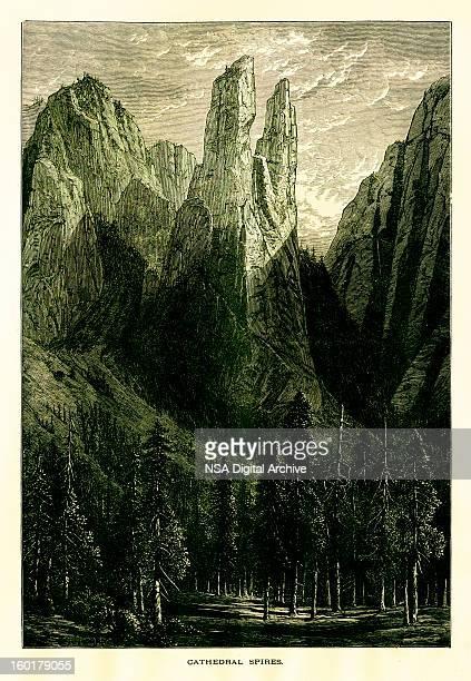 大聖堂尖塔、ヨセミテバレー、カリフォルニア州 - 内陸部の岩柱点のイラスト素材/クリップアート素材/マンガ素材/アイコン素材