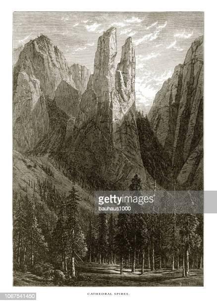 ilustrações, clipart, desenhos animados e ícones de catedral de speyer, vale de yosemite, yosemite national park, sierra nevada, califórnia, american vitoriana gravura, 1872 - spire