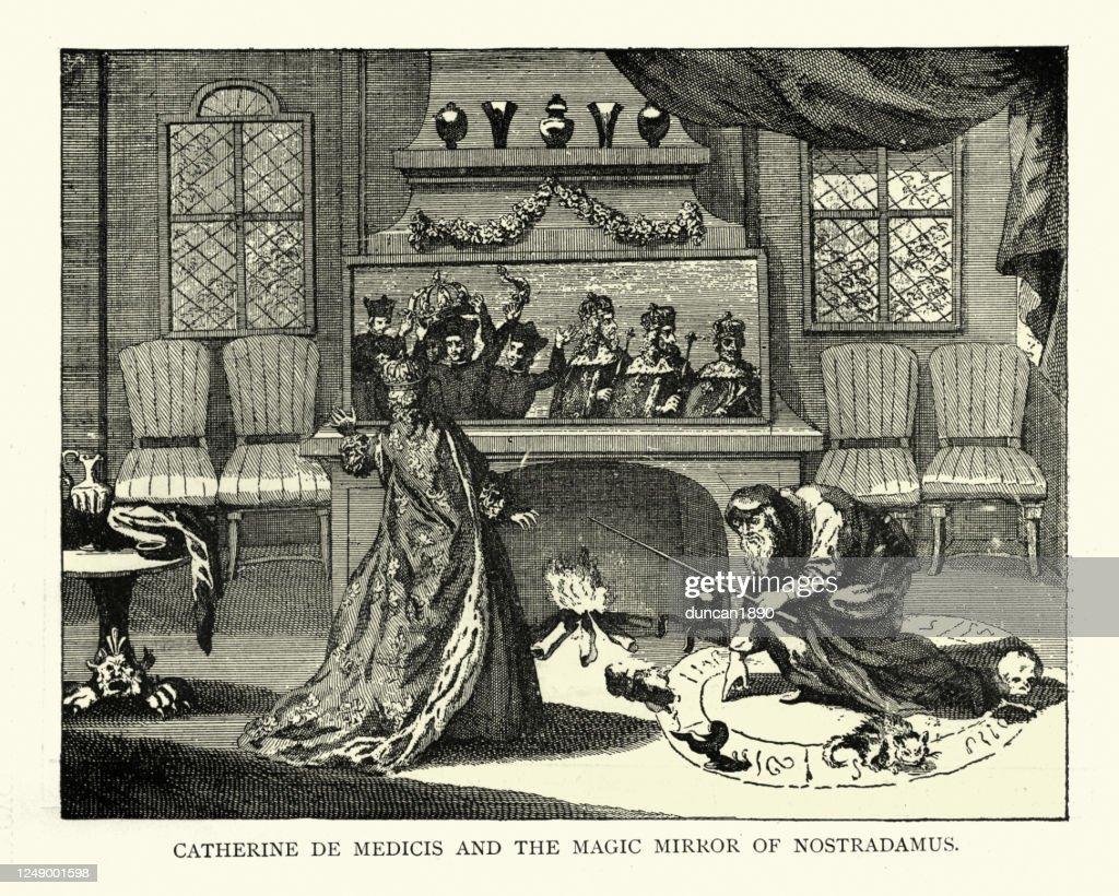 Catherine de' Medici and Nostradamus's Magic Mirror : stock illustration