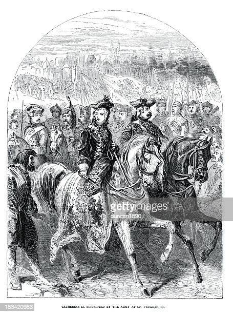 catherine ii of russia with her army - empress stock illustrations, clip art, cartoons, & icons