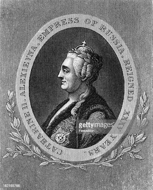 catherine the great - engraved portrait (xxxl) - empress stock illustrations, clip art, cartoons, & icons