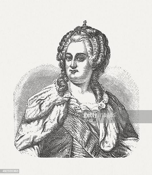 catherine the great (1729-1796), russian empress,wood engraving, published 1881 - empress stock illustrations, clip art, cartoons, & icons