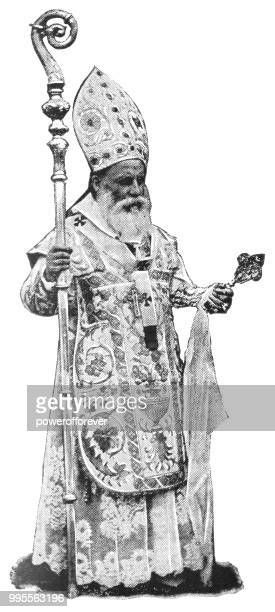 catholic bishop in jerusalem, israel - ottoman empire - bishop clergy stock illustrations, clip art, cartoons, & icons