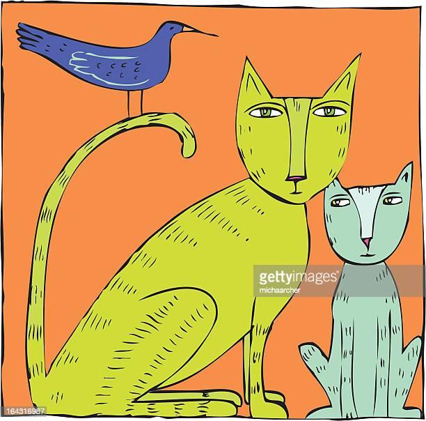 cat,kitten and bird - mockingbird stock illustrations, clip art, cartoons, & icons