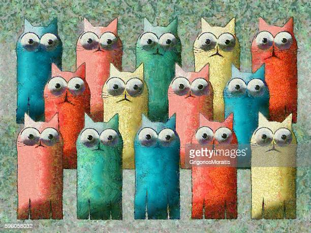 Cats Colorful Cartoon Painting