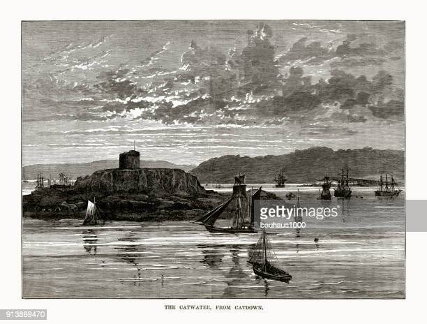 Catwater From Catdown Rivers Victorian Engraving