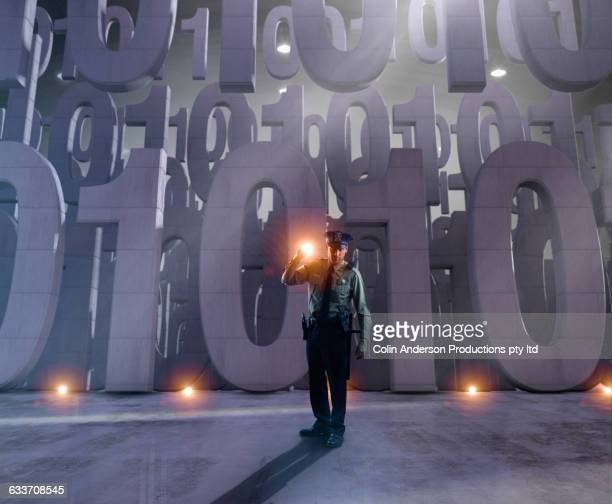 caucasian security officer guarding binary code - one young man only stock illustrations