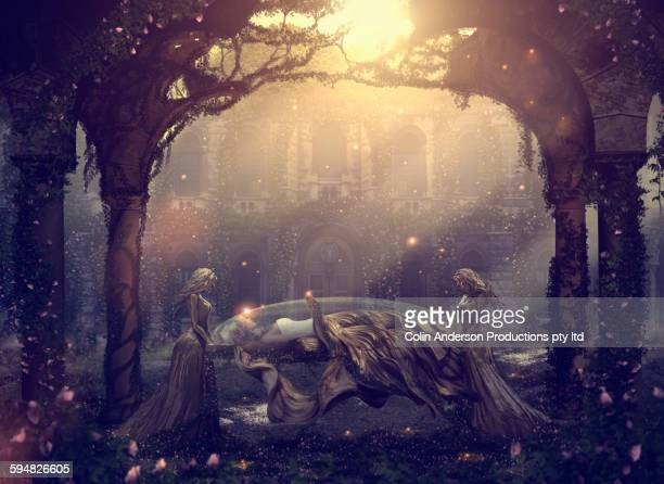 caucasian women mourning sleeping friend - fantasy stock illustrations