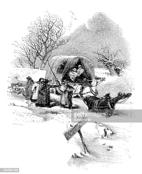 caught in the snow - horse cart stock illustrations, clip art, cartoons, & icons