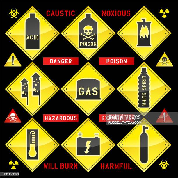 caustic hazardous explosive signs - corrosive sign stock illustrations, clip art, cartoons, & icons