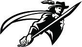 Cavalier mascot B&W