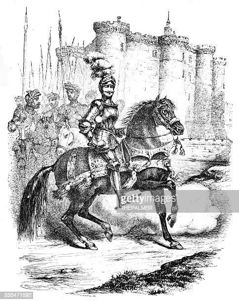 cavalier of notre dame engraving 1888 - cavalier cavalry stock illustrations, clip art, cartoons, & icons