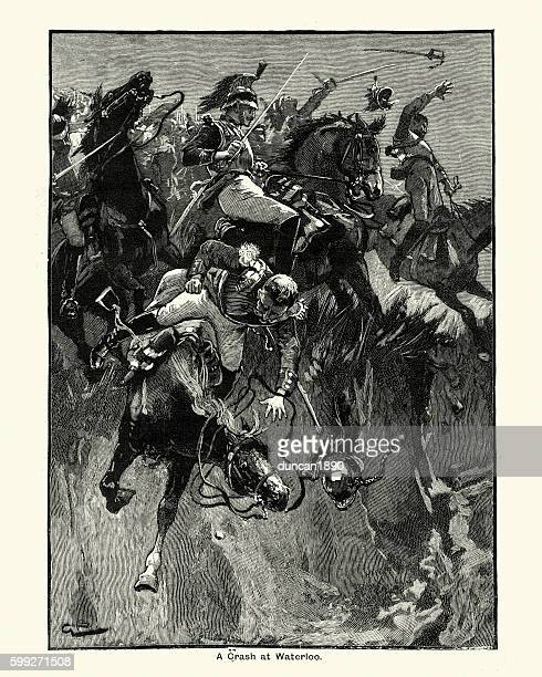 cavalry at the battle of waterloo - animals charging stock illustrations, clip art, cartoons, & icons