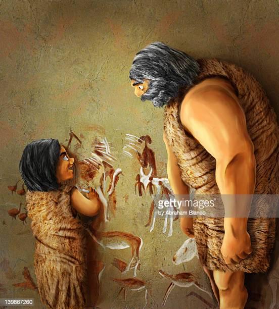 cave work - paleolitico stock illustrations