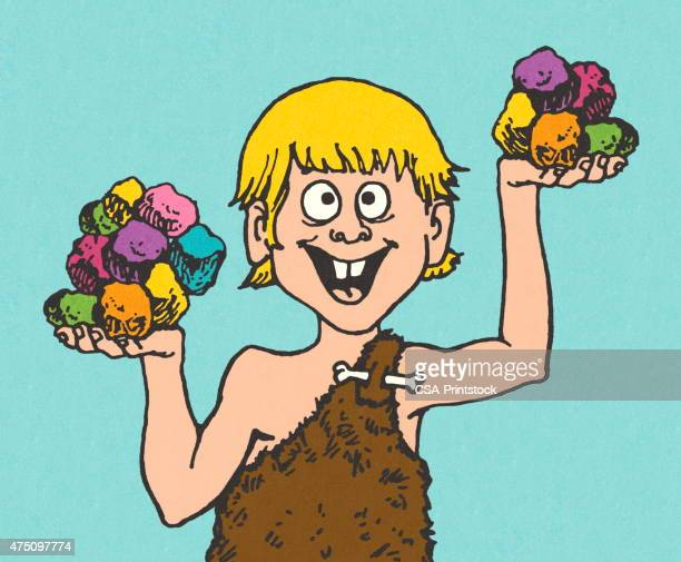 Caveman Holding Colorful Rocks