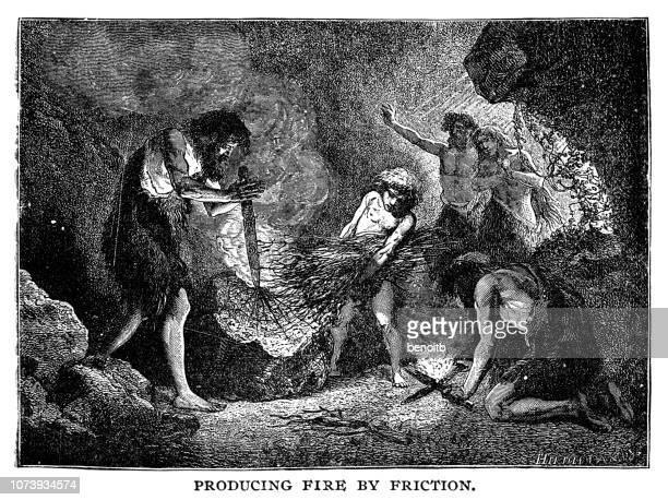 caveman producing fire by friction - prehistoric era stock illustrations