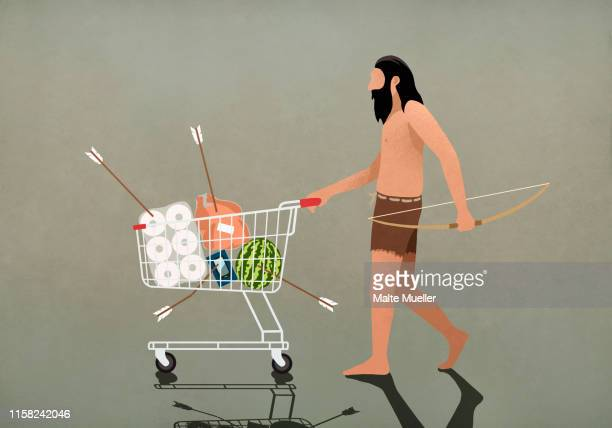 ilustraciones, imágenes clip art, dibujos animados e iconos de stock de caveman with bow and arrow pushing shopping cart - cavernicola