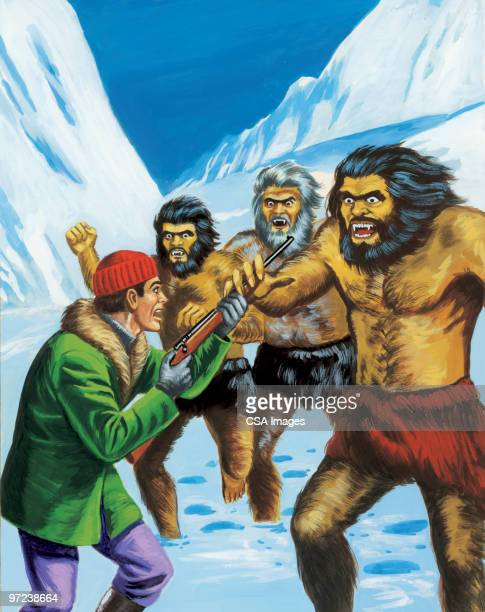 cavemen confronting man with rifle - caveman stock illustrations