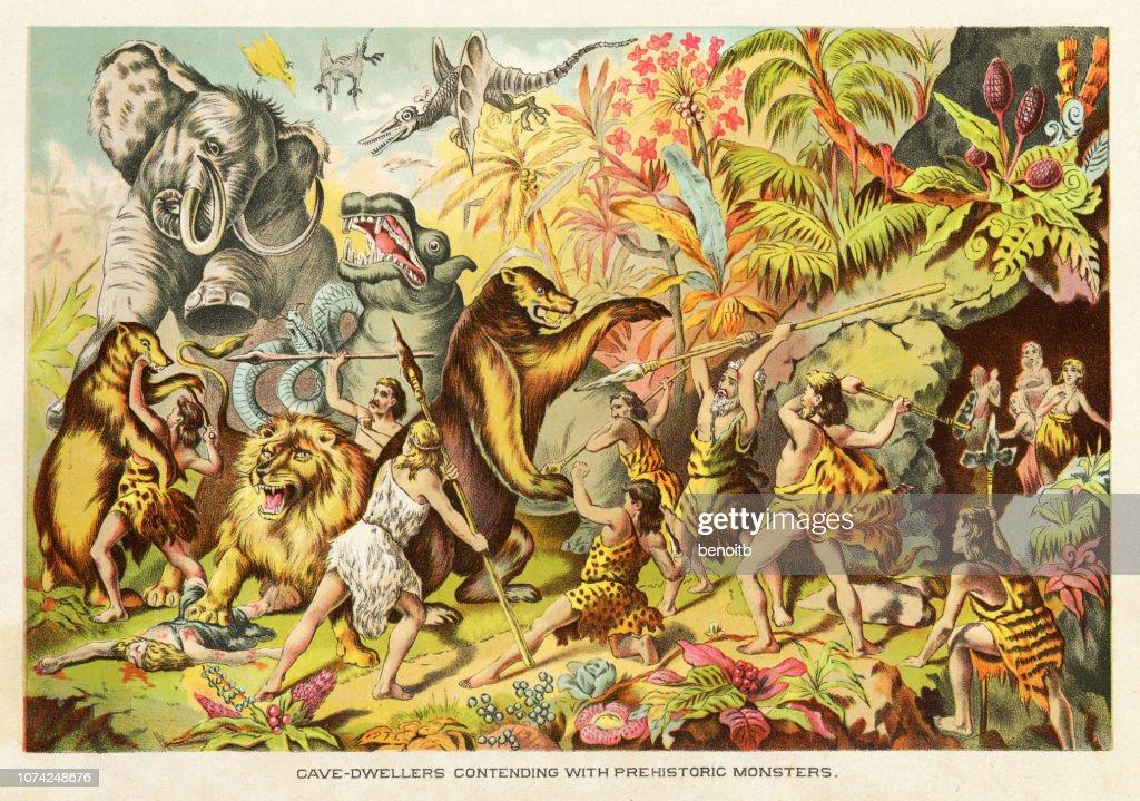 Cavemen contending with prehistoric monsters : stock illustration
