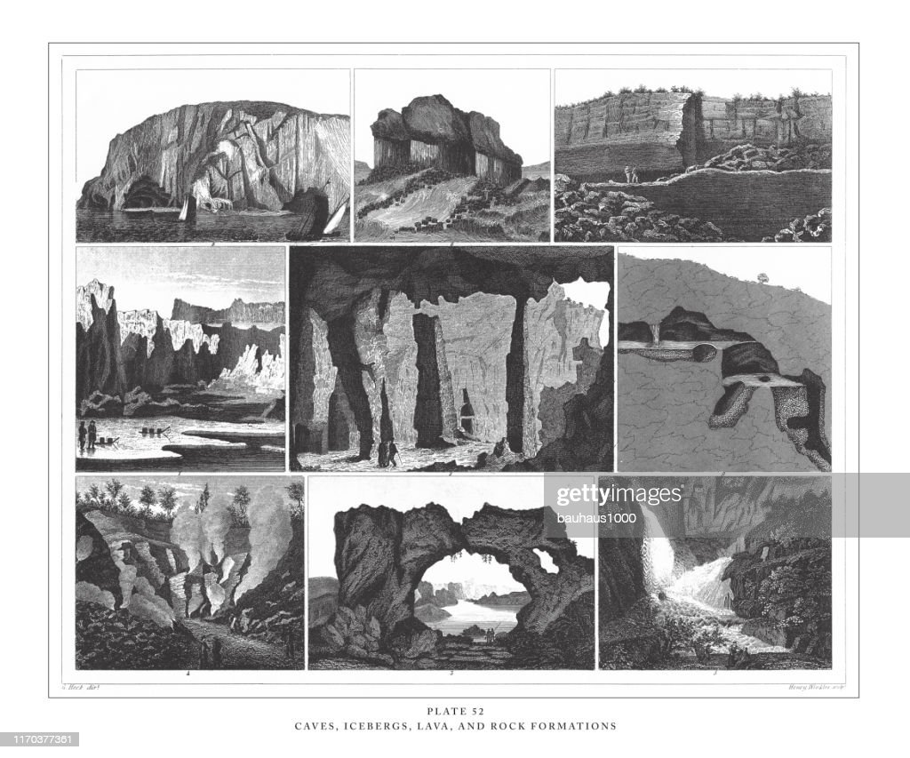 Caves, Icebergs, Lava and Rock Formations Engraving Antique Illustration, Published 1851 : stock illustration