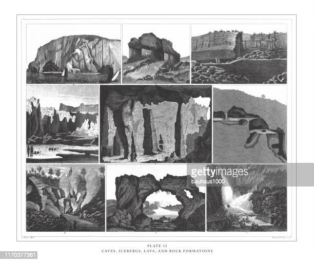 caves, icebergs, lava and rock formations engraving antique illustration, published 1851 - isle of staffa stock illustrations, clip art, cartoons, & icons