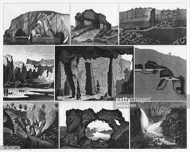 caves, icebergs, lava and rock formations engraving - isle of staffa stock illustrations, clip art, cartoons, & icons