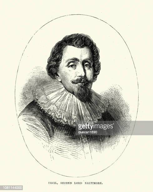 cecil calvert, 2nd baron baltimore - governor stock illustrations, clip art, cartoons, & icons