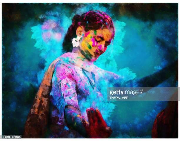 ilustraciones, imágenes clip art, dibujos animados e iconos de stock de celebración del holi en la india - técnica digital mixta - etnia del subcontinente indio