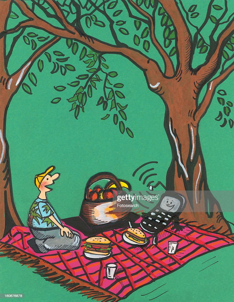 Cell phone and man having a picnic : Stock Illustration