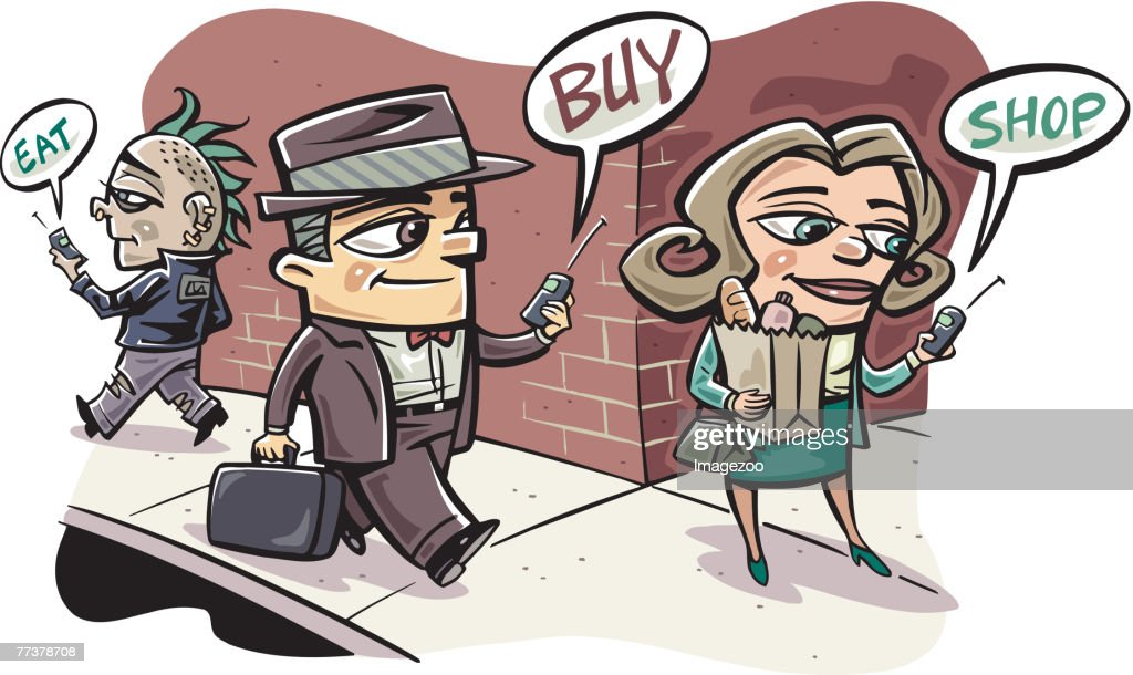 cell phone shopping : Illustration