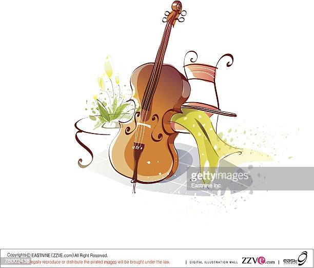 cello leaning on a chair - music style stock illustrations, clip art, cartoons, & icons