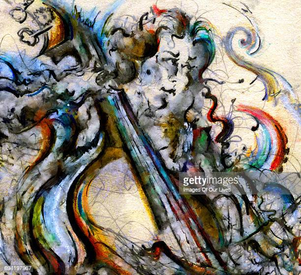 cello player woman - painted image stock illustrations