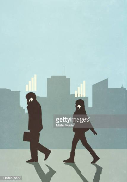 cellular network bars above business people walking and talking on smart phones in city - {{relatedsearchurl(carousel.phrase)}} stock illustrations