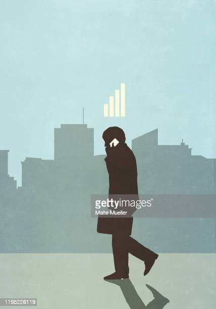 cellular reception bars above businessman talking on smart phone in city - graph stock illustrations