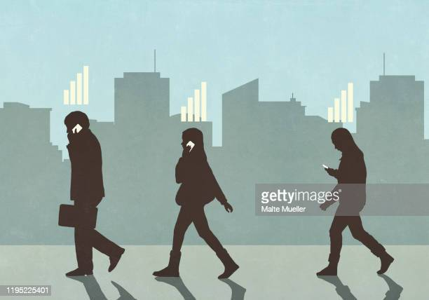 cellular reception bars above pedestrians walking and using smart phones in city - social media stock illustrations