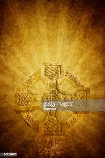 celtic cross on old paper - celtic cross stock illustrations, clip art, cartoons, & icons