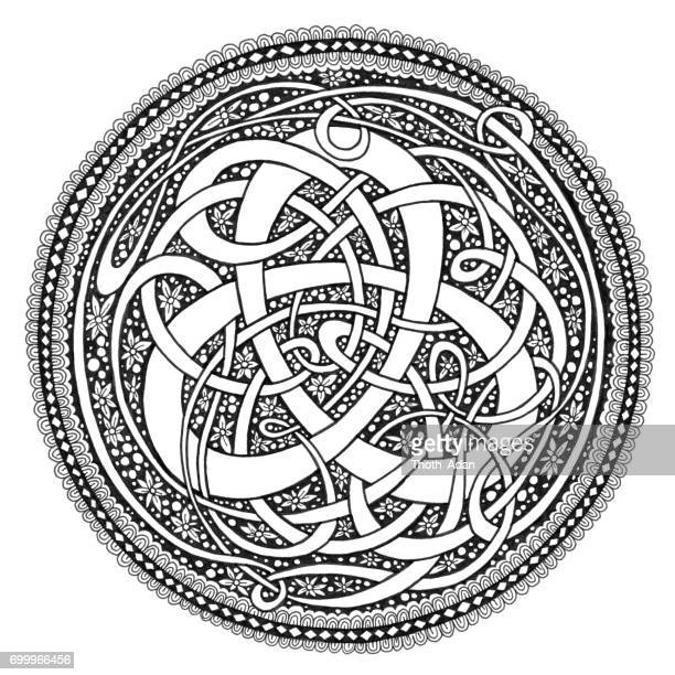 celtic knot mandala doodle drawing - filigree stock illustrations